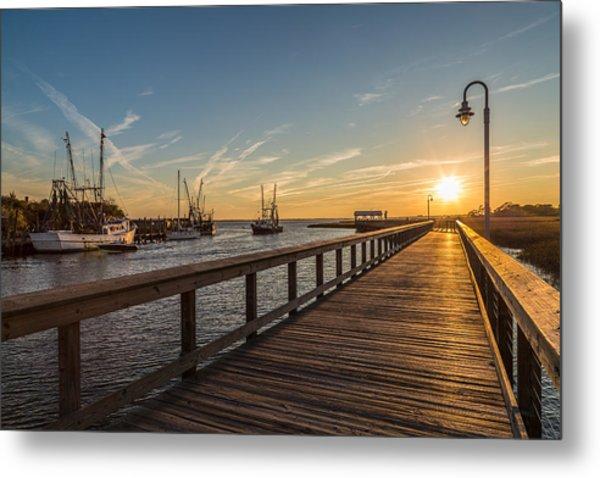 Shem Creek Pier Sunset - Mt. Pleasant Sc Metal Print