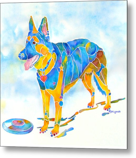 Shepherd With Frisbee - Play With Me Metal Print