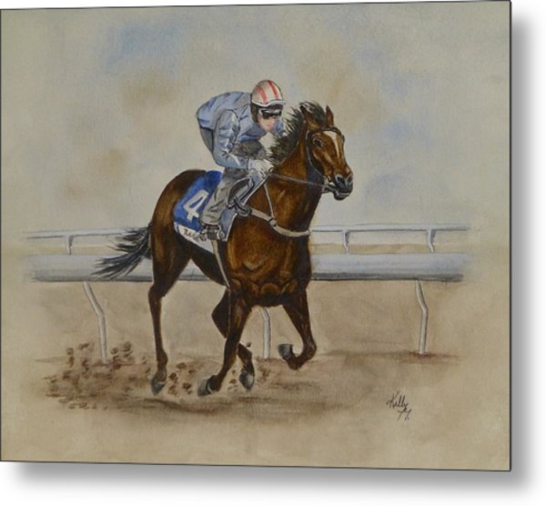 She's Taking The Lead ... Horserace Metal Print