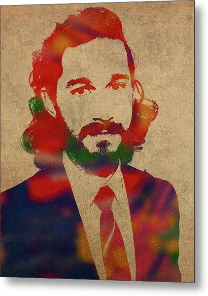 Shia Labeouf Watercolor Portrait Metal Print