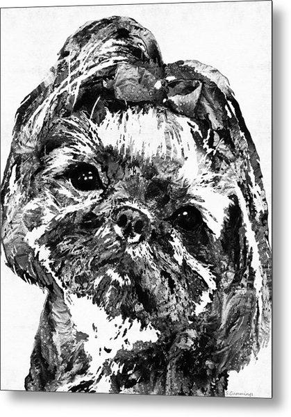 Shih Tzu Dog Art In Black And White By Sharon Cummings Metal Print