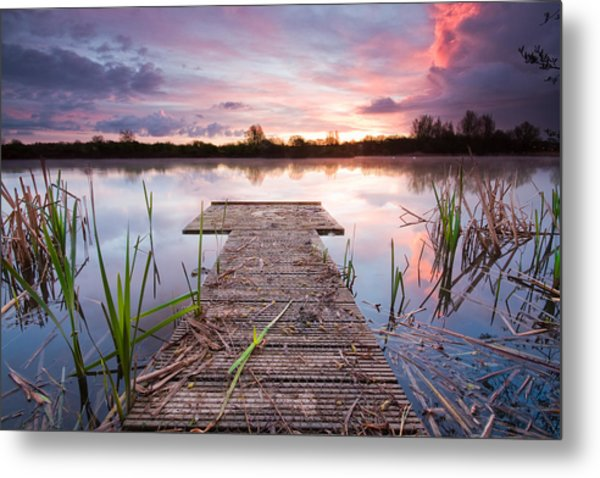 Shinewater Lake Sunrise Metal Print