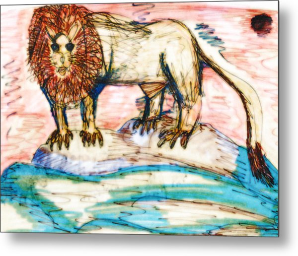 Shining Lion Metal Print by Andrew Blitman