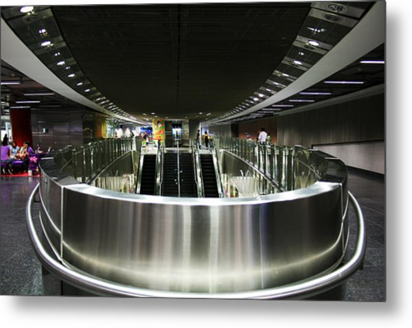 Shiny Singapore Stainless Steel Underground Station Metal Print by Jane McDougall