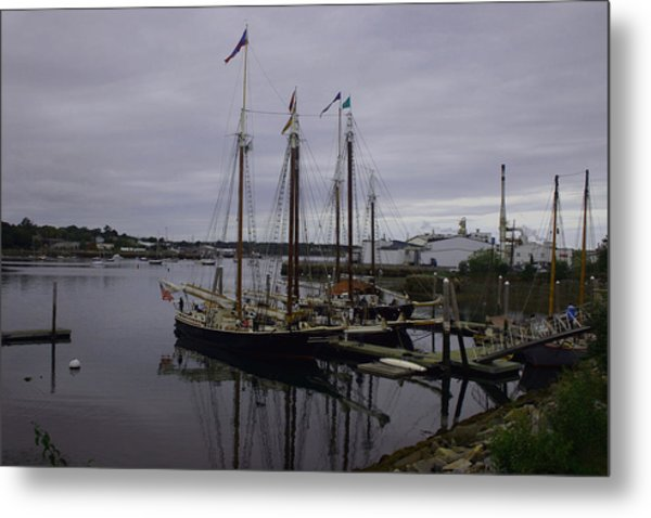 Ship At Dock. Metal Print by Dennis Curry