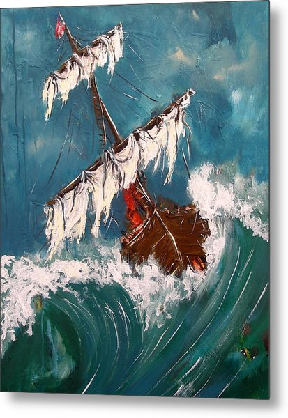 Ship In A Storm Metal Print