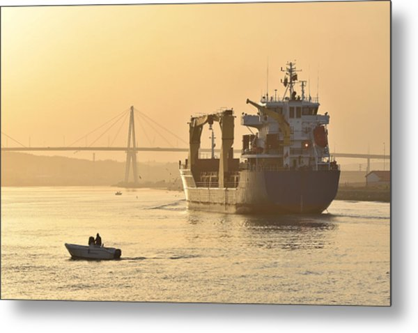 Ship In Harbor Metal Print