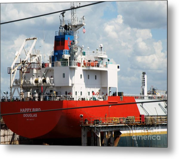 Ship In Tampa Harbor Metal Print by Rose  Hill