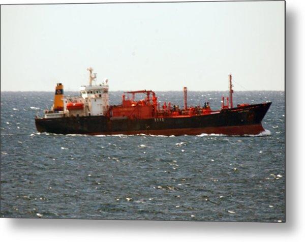 Ship Leaving Galveston Metal Print by Bill Perry