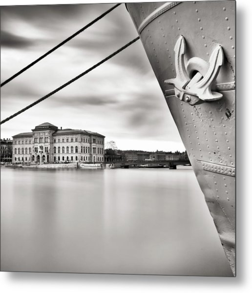 Ship With Anchor In Harbor Metal Print