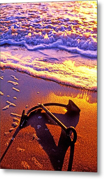 Ships Anchor On Beach Metal Print
