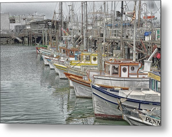 Ships In The Harbor Metal Print