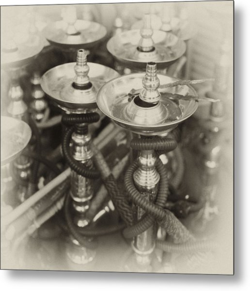 Shisha Pipes In Qatar Retro Metal Print