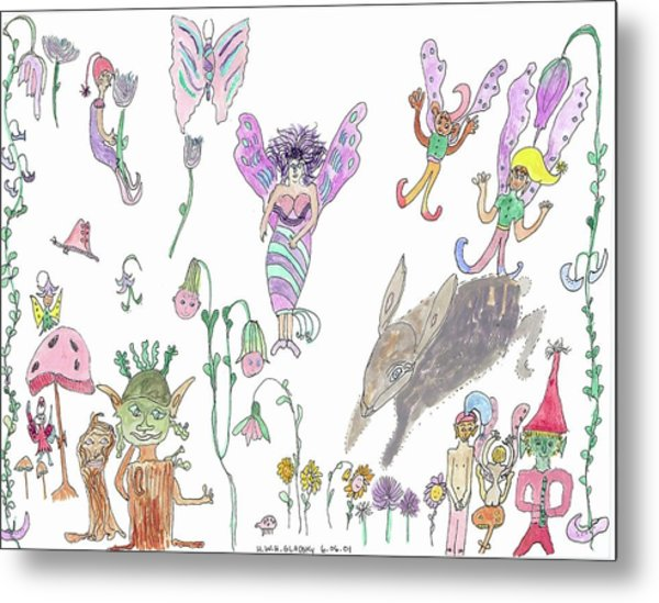 Shoe Tree Rabbit And Fairies Metal Print