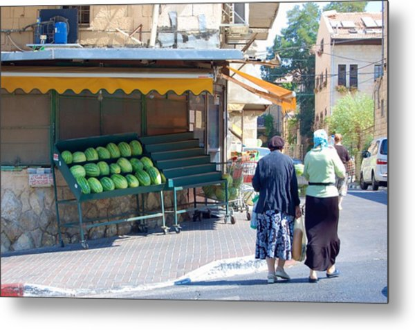 Shopping For Shabbat In Jerusalem Metal Print by Susan Heller