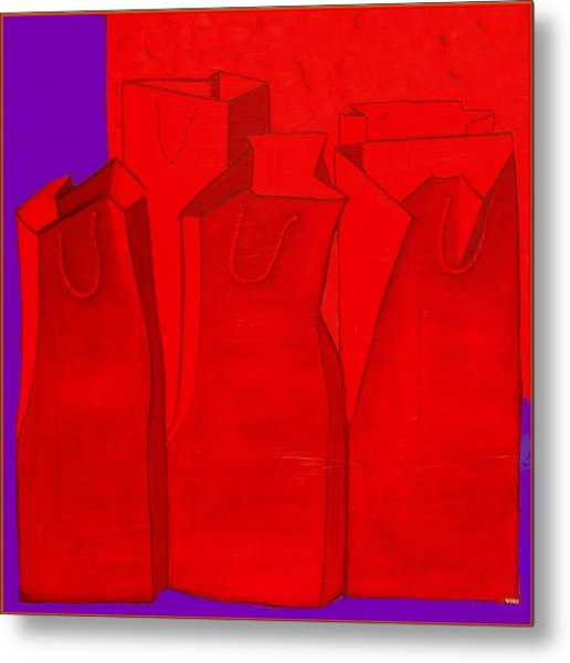 Shopping In Red Metal Print