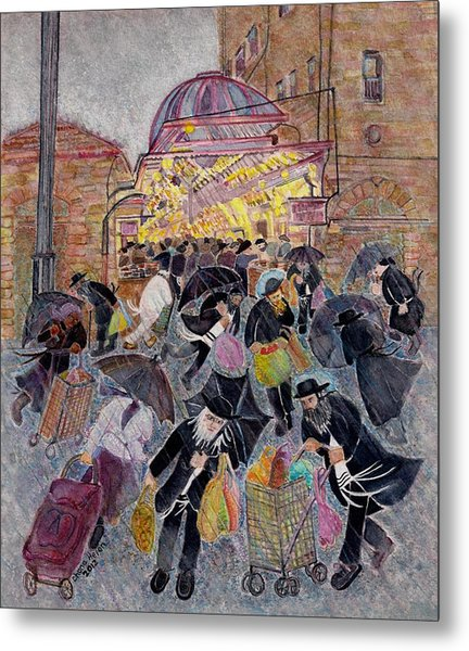 Shopping In The  Shouk For Shabbat, Jerusalem Metal Print by Chana Helen Rosenberg
