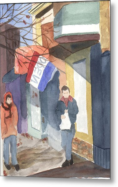 Shopping On Exchange Street Metal Print by Jane Croteau