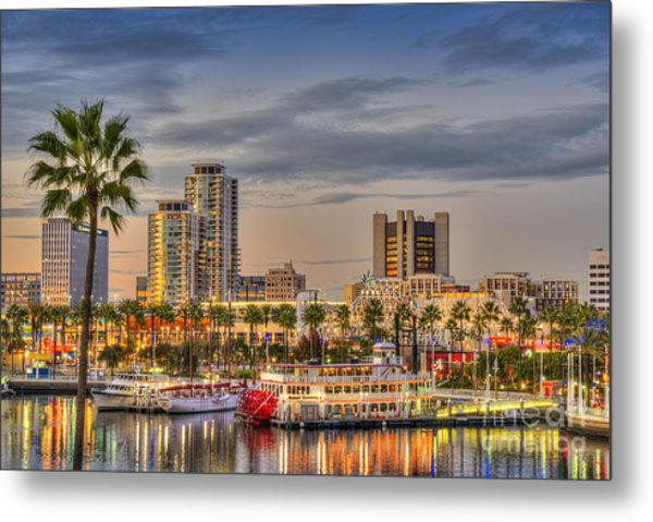 Shoreline Village Rainbow Harbor Marina Metal Print