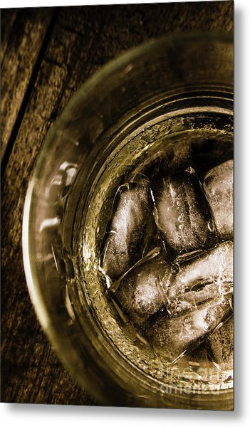 Shot Of Whisky On The Rocks Metal Print