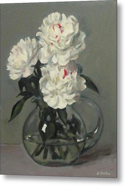 Showy White Peonies In Glass Pitcher Metal Print