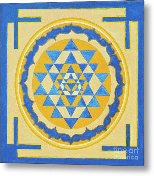 Shri Yantra For Meditation Painted Metal Print