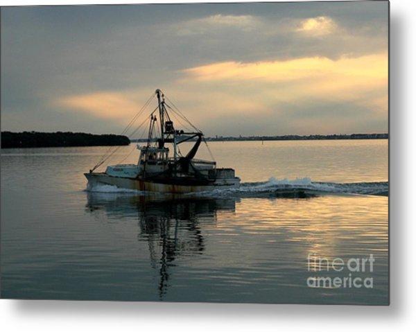 Shrimp Boat At Sunset Metal Print