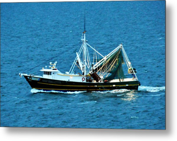 Shrimp Boat In The Gulf Metal Print by Bill Perry