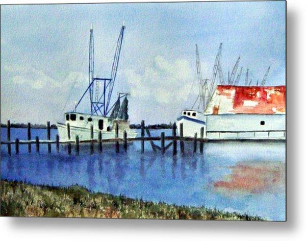 Shrimpboats At Dock Metal Print by Carol Sprovtsoff