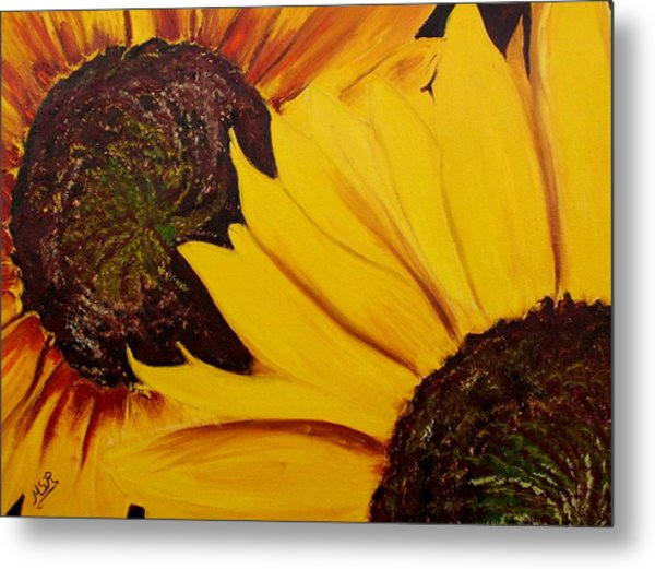 Shy Sunflower  Metal Print by Maria Soto Robbins