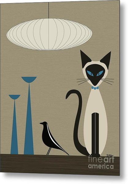 Siamese Cat With Eames House Bird Metal Print