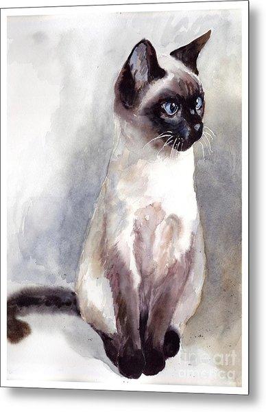 Siamese Kitten Portrait Metal Print