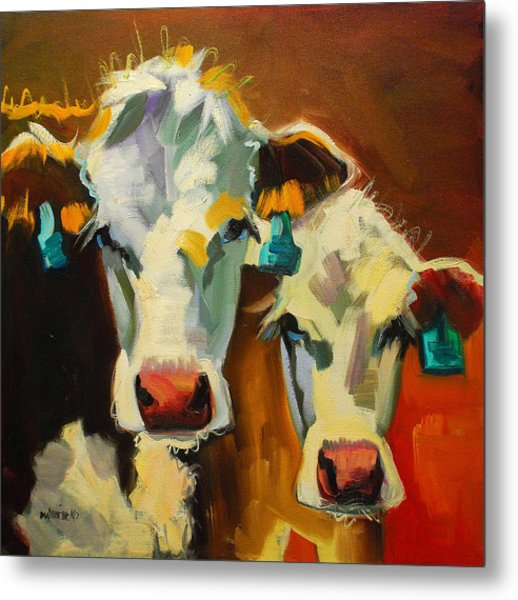 Sibling Cows Metal Print