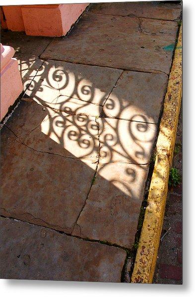 Sidewalk Shadow Metal Print