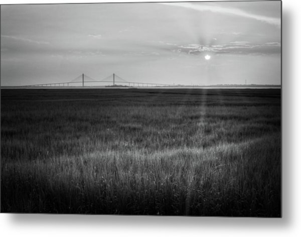 Sidney Lanier At Sunset In Black And White Metal Print