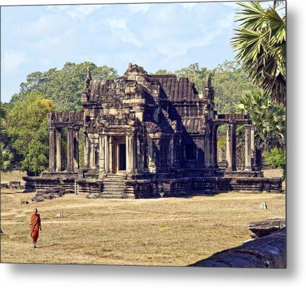 Siem Reap With Monk Metal Print