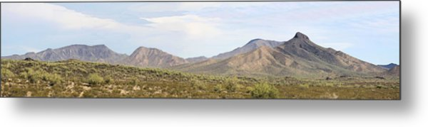 Sierra Estrella Mountains Panorama Metal Print by Sharon Broucek