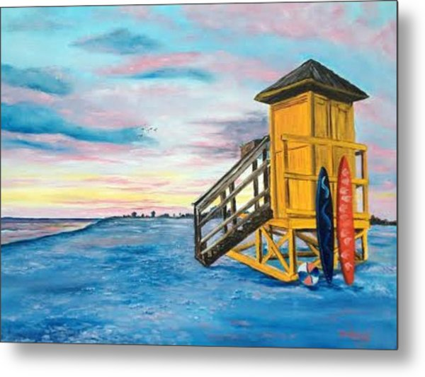 Siesta Key Life Guard Shack At Sunset Metal Print