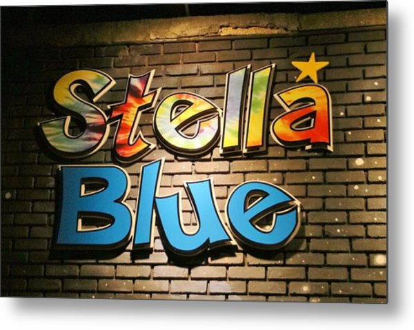 Sign Of Stella Blue Metal Print