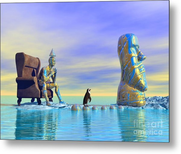 Metal Print featuring the digital art Silent Mind - Surrealism by Sipo Liimatainen