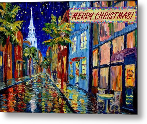 Silent Night Christmas Card Metal Print