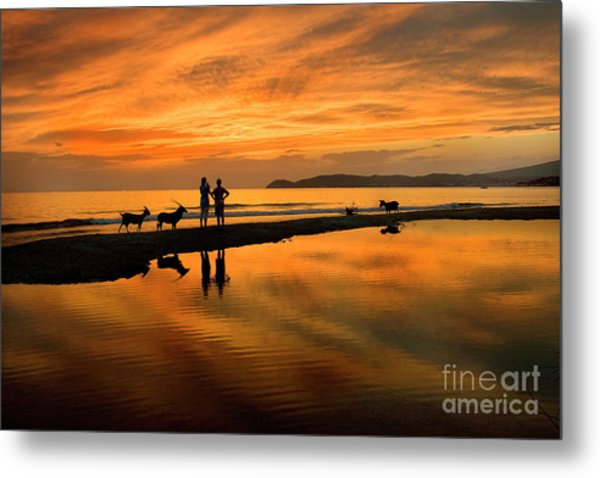 Silhouette And Amazing Sunset In Thassos Metal Print