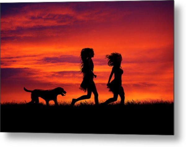 Silhouette Of Two Girls And Dog Metal Print