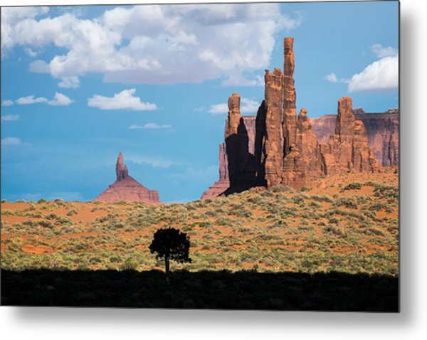 Metal Print featuring the photograph Silhouetted Tree At Monument Valley by Mary Lee Dereske