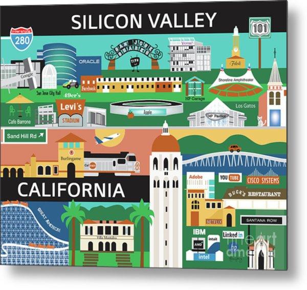 Silicon Valley California Horizontal Scene - Collage Metal Print