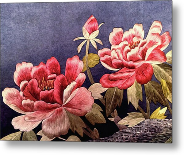 Metal Print featuring the tapestry - textile Silk Peonies - Kimono Series by Susan Maxwell Schmidt
