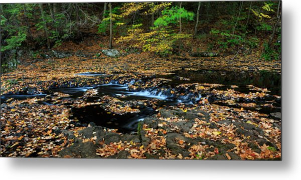 Silky New England Stream In Autum Metal Print