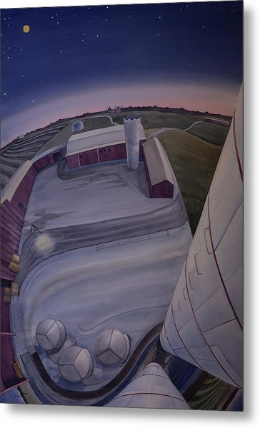 Metal Print featuring the painting Silos Looking Down by Scott Kirby