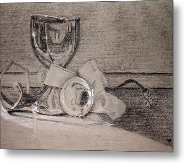 Silver And Glass Still Life Metal Print by Rebecca Tacosa Gray