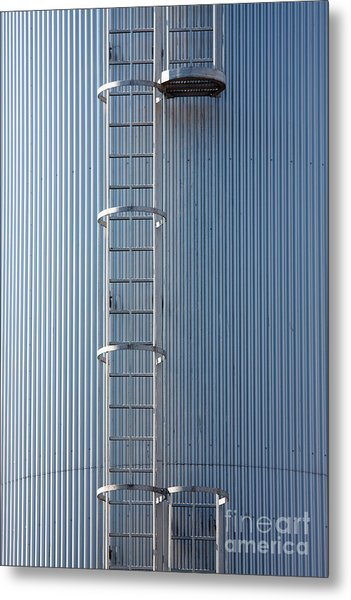 Silver Blue Silo With Steel Ladder. Metal Print